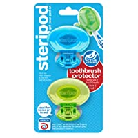 Steripod Clip-on Toothbrush Protector (2-Pack Blue & Green) I Protects Against Soap I Dirt I Hair I Sand I For Travel, Home, Camping - Stay fresh