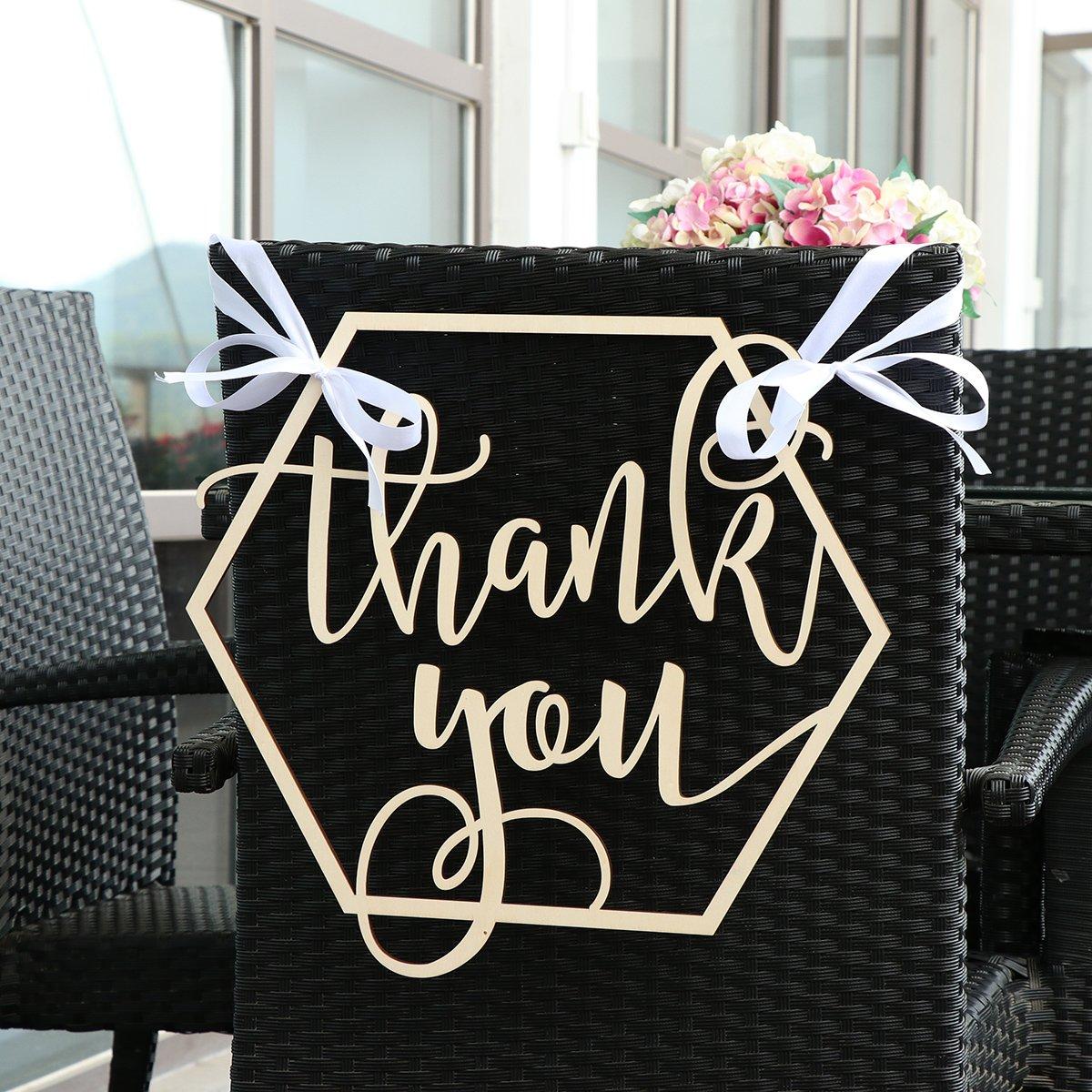 BESTOYARD Wedding Chair Banner Thank You Wood Sign Wedding Photo Booth Prop Wedding Party Decoration by BESTOYARD (Image #3)