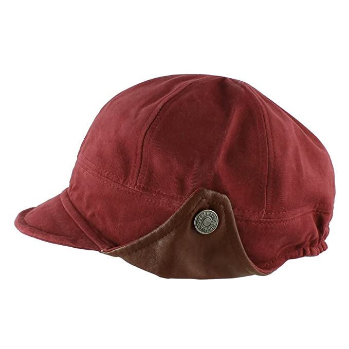 ebb077eb888 Morehats Cotton Faux Leather Floppy Short Brim Hip-hop Baseball Cap Aviator  Trapper Hat - Red: Amazon.in: Clothing & Accessories
