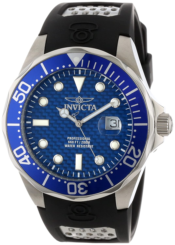 Amazon.com: Invicta Mens 12559 Pro Diver Blue Carbon Fiber Dial Black Polyurethane Watch: Invicta: Watches