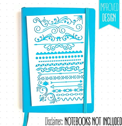 Icons Fits Leuchtturm /& Moleskine A5 Notebooks Banners Best Used with Huhuhero Fineliners /& Sakura Micron Pens BULLET JOURNAL STENCIL SET 4 PACK Dividers 5 X 7 inches MUUYIYA 757490647382