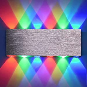 LIGHTESS Modern Wall Sconce RGB Indoor Wall Lamps Dimmable Color Changing Home Theater Wall Lighting with Remote Control Silver Brushed Finished Hardwired Wall Lamp for Bedroom Hallway Living Room