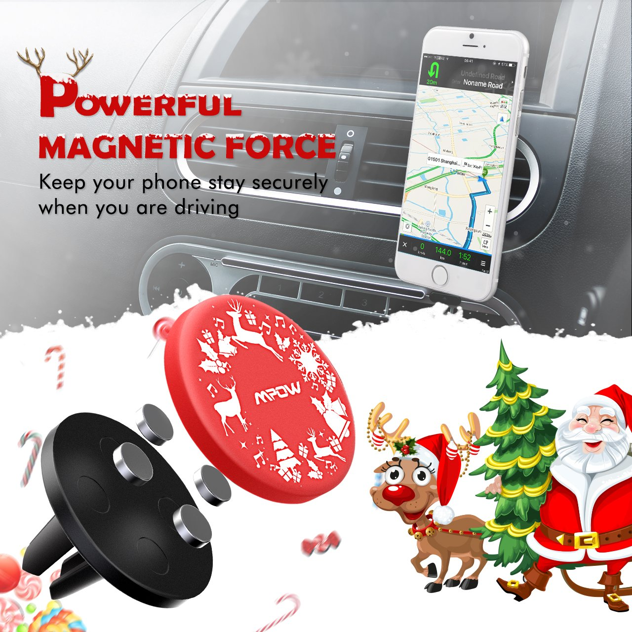 Galaxy S6//S7//S8 Huawei etc 4351530605 Universal Air Vent Car Phone Mount with Strong Magnet Car Holder for iPhone X//XS//XS MAX//XR//8//8Plus//7//7Plus//6s Mpow Magnetic Car Phone Mount with Christmas Santa Google