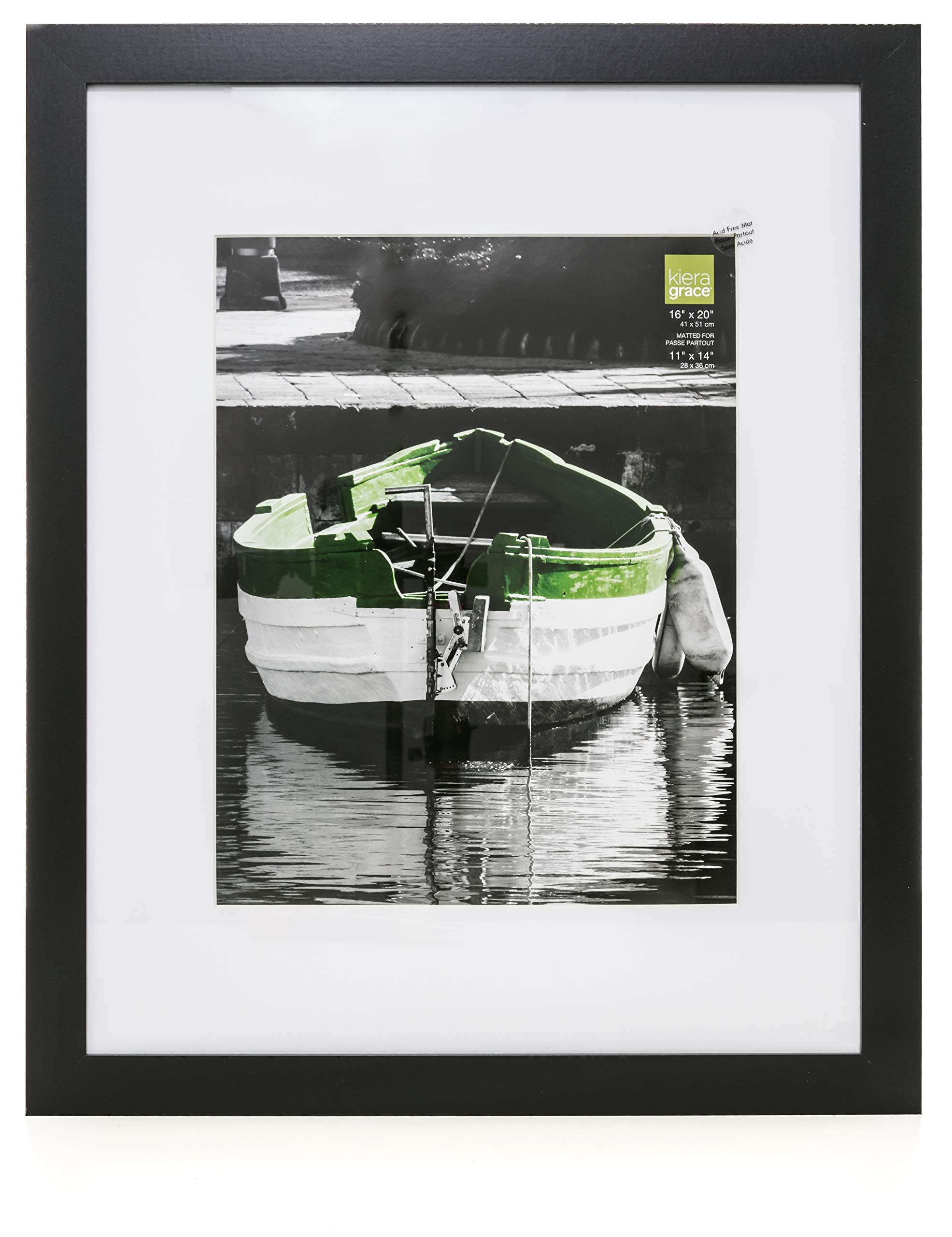 kieragrace Langford Wood Picture Frame, 16 by 20 Inch Matted for 11 by 14 Inch Photo, Black