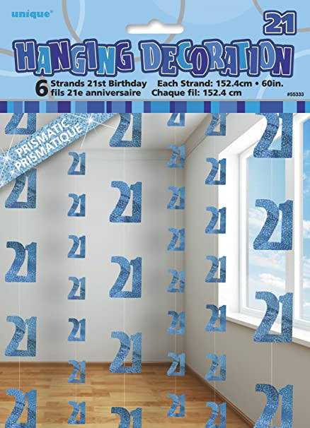 Image Unavailable Not Available For Color 5ft Hanging Glitz Blue 21st Birthday Decorations