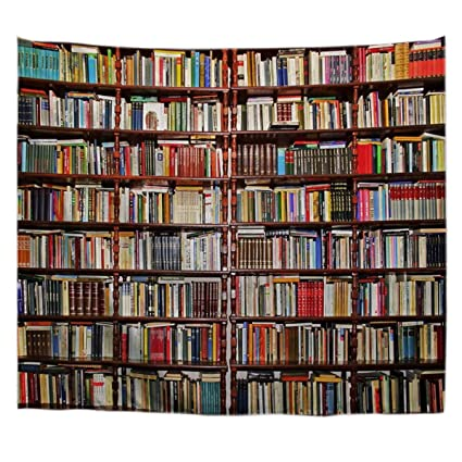 AMonamour Bookshelf Full Of Books Study Room Scene Picture Art Print Fabric Tapestry Wall