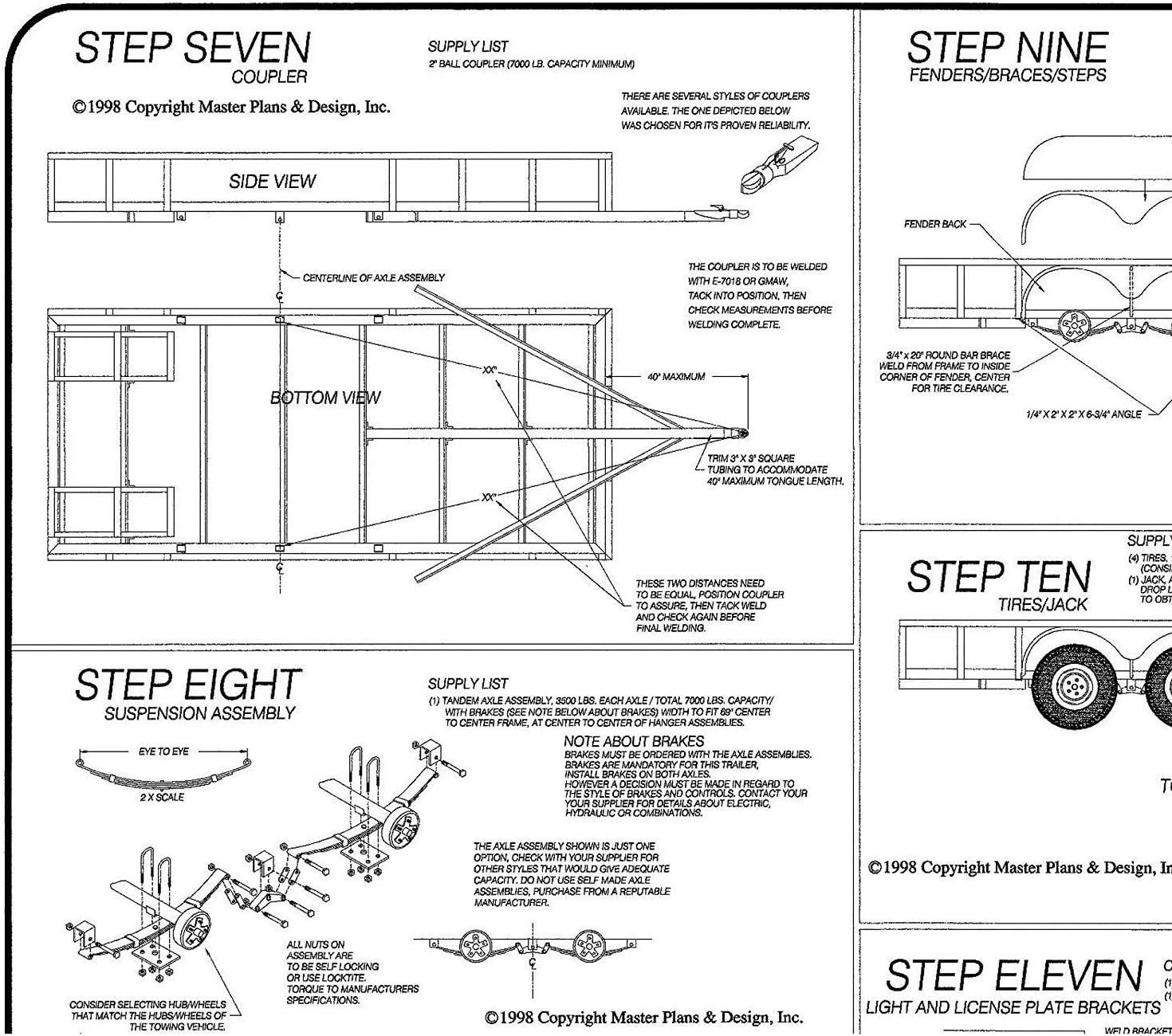 10 x 64 - Model T1110 Utility Trailer Plans Blueprints
