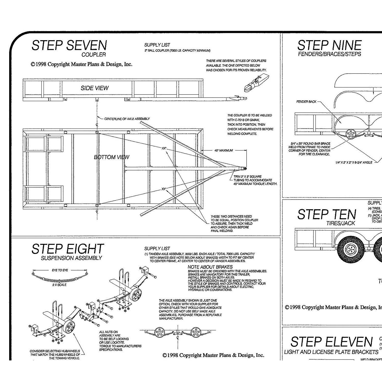 Model 1214 6 x 14 Lowboy Trailer Plans Blueprints