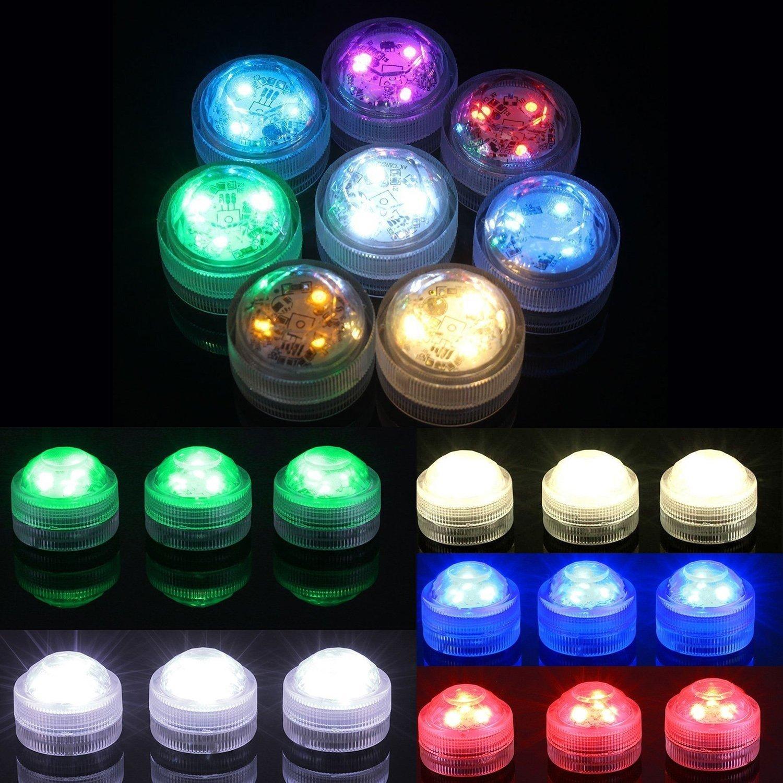 10pcs Luces sumergibles LED Luces subacuáticas impermeables SMD 3528 RGB luces de humor para vaso, cuencos,piscina,acuario y decoración de fiesta IR Control ...