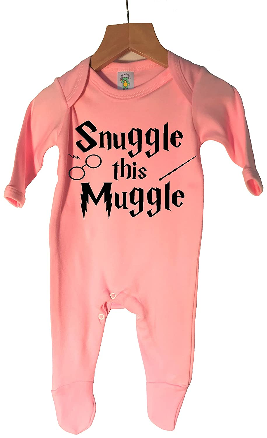 'Snuggle this Muggle' Made in England, 100% cotton sleepsuit in choice of 3 colours and 4 sizes.
