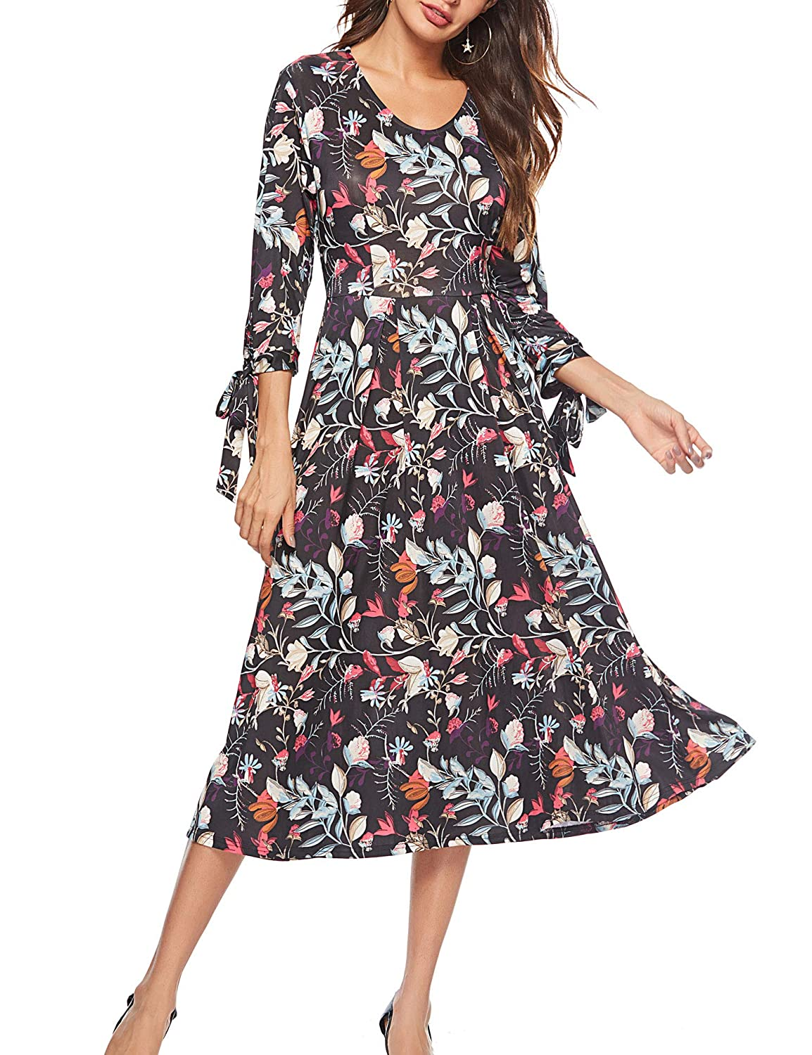 Black WISREMT Womens Floral Print 3 4 Sleeve A Line Casual Swing Midi Dress