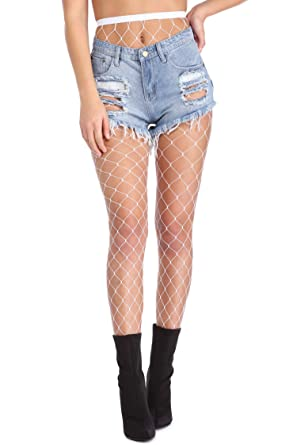 6fc28b6490e33 Women Black Fishnet Tights Sexy Big Cross Seamless Style For Fancy Dress ,  Costumes, Or Under Jeans, Shorts (White) by Goddess Untold: Amazon.co.uk:  ...