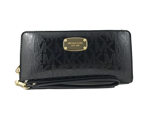 3ed9a6c0b13b0f Image Unavailable. Image not available for. Color: Michael Kors Black Jet  Set Travel Continental Black Mirror Zip Around Wallet Wristlet