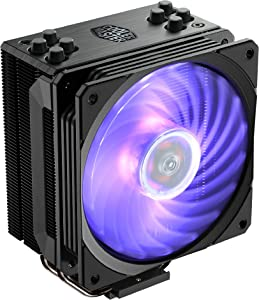 Cooler Master Hyper 212 RGB Black Edition CPU Air Cooler w/ SF120R 120mm RGB Fan, 4 Continuous Direct Contact 2.0 Heatpipes, Anodized Gun-Metal Black, Brushed Nickel Fins, Intel LGA1151, AMD AM4/Ryzen