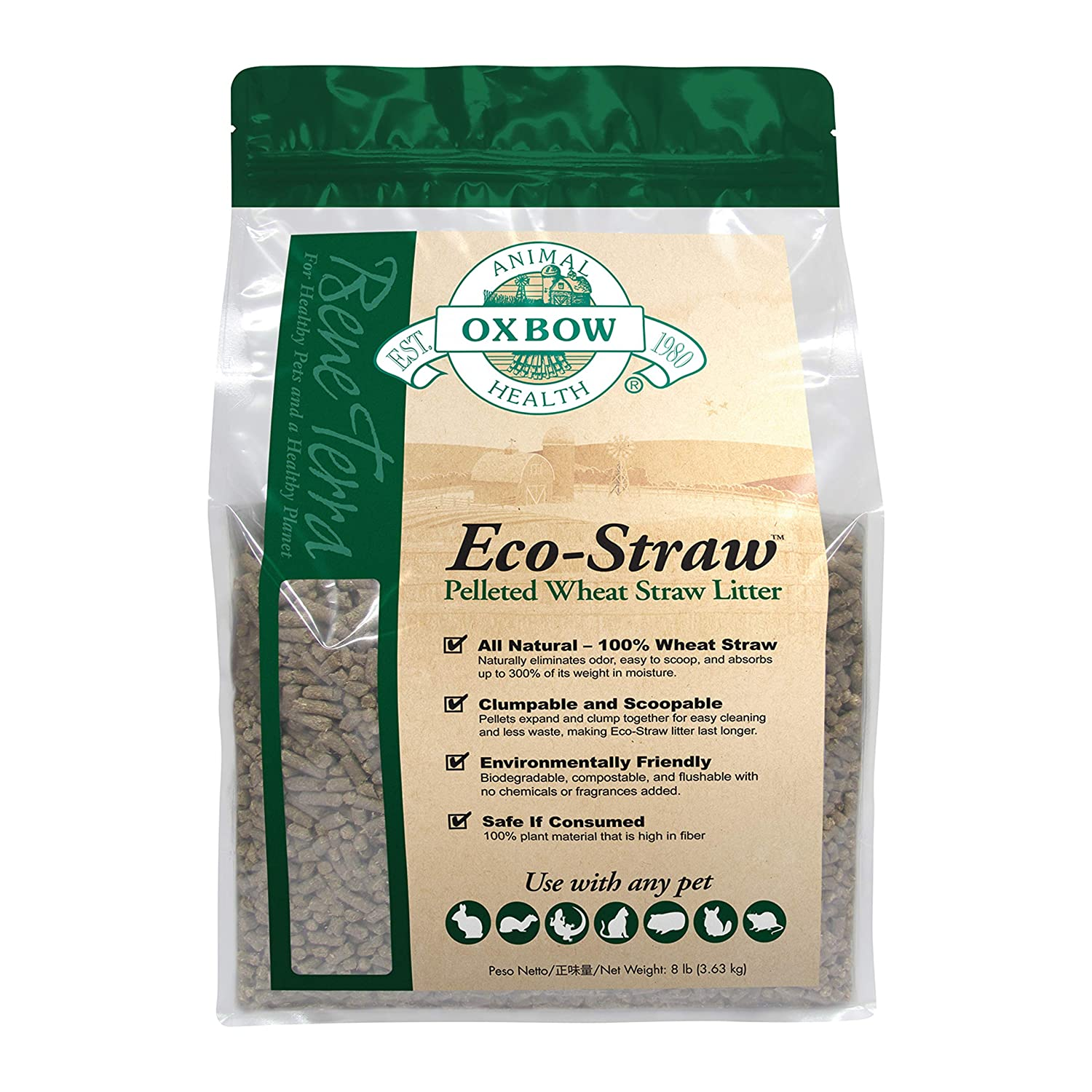 OXBOW PET PRODUCTS 744845104027 Ecostraw Bedding for Pets 8-Pound
