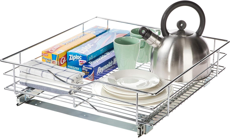 "Home Zone Living Pull-Out Organizer | 20"" W x 21"" D | Under Cabinet Kitchen Basket Organization"