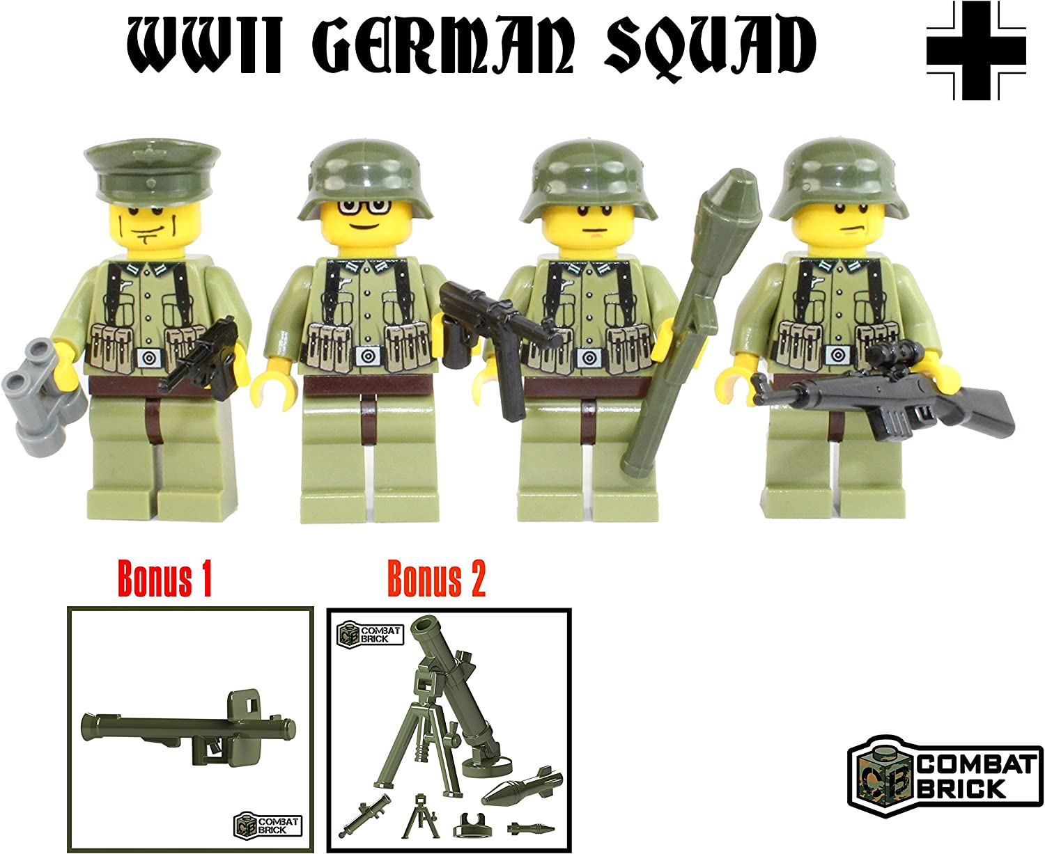 NEW German Army WW2 Soldiers custom minifigure set of 6 military German Figures