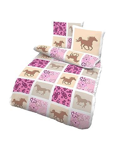 Träumschön Pferdebettwäsche Mädchen 135x200 Biber Bettwäsche Aus