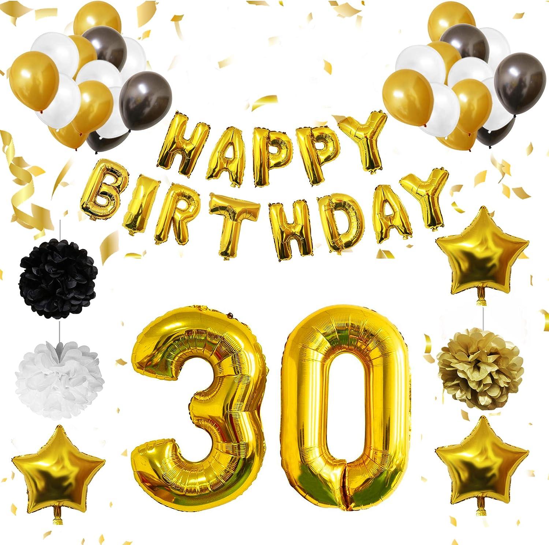 BELLE VOUS 30 Cumpleaños Decoracion - Globos de Cumpleaños - Globos de Helio para Cumpleaños Fiesta Décor para Niña Niño Hombre Mujer (Números 30 Happy Birthday) - Regalos Kit