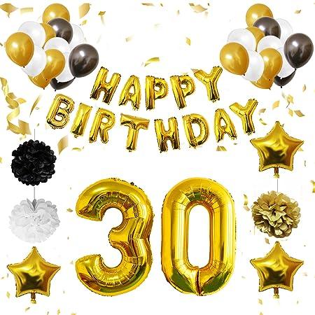 BELLE VOUS 30 Cumpleaños Decoracion - Globos de Cumpleaños Guirnalda - Globos de Helio para el Aniversario de Boda, Fiesta Décor para Niña Niño Hombre ...