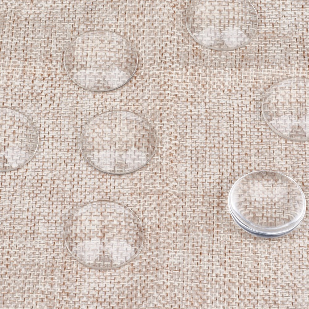 Kissitty 100Pcs Transparent Clear Glass Flat Back Cabochons 24.5~25mm Diameter Dome Tiles Cameo Half Round Cabochons for DIY Craft Photo Jewelry Making