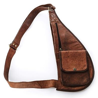 Umhänge-Tasche Schultertasche Brustbeutel Brusttasche Ledertasche braun