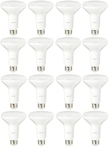 AmazonBasics 65 Watt Equivalent, Soft White, Dimmable, BR30 LED Light Bulb | 16-Pack