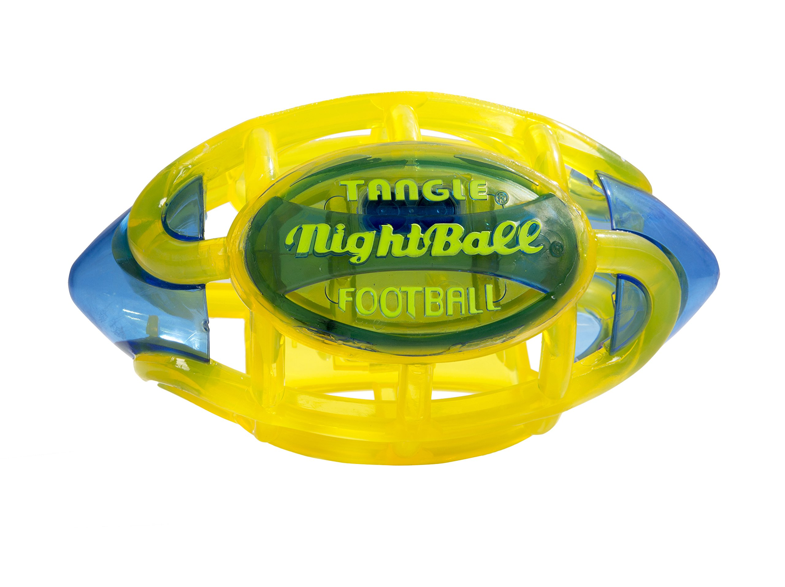 Tangle NightBall Glow in the Dark Light Up LED Football, Yellow with Blue