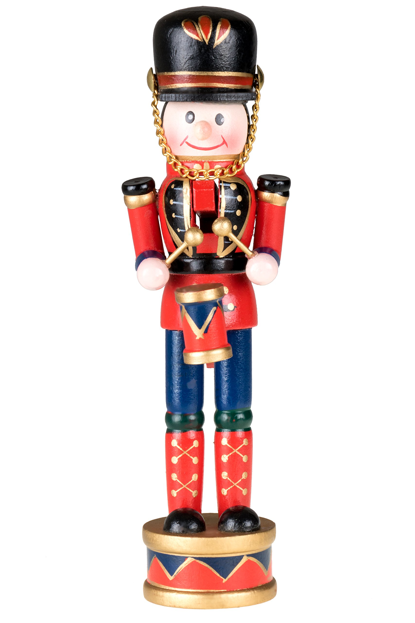 Clever Creations Drummer Nutcracker | Traditional Christmas Decor | Red, Black, Blue Drumming Uniform | Perfect for Any Collection | 7'' Tall Nutcracker Perfect for Shelves and Tables | 100% Wood |