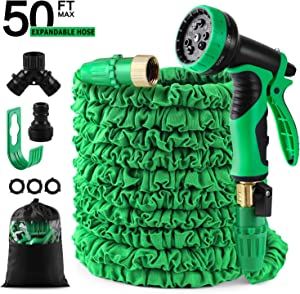 "50 feet Expandable Garden Hose, Water Hose, With Triple Layered Latex Core, With 3/4"" Solid Fittings, Hose Splitter/ Hose Quick Connector/Free 9 Function Spray Nozzle, for House/ Car/ Floor/ Yard Wash"