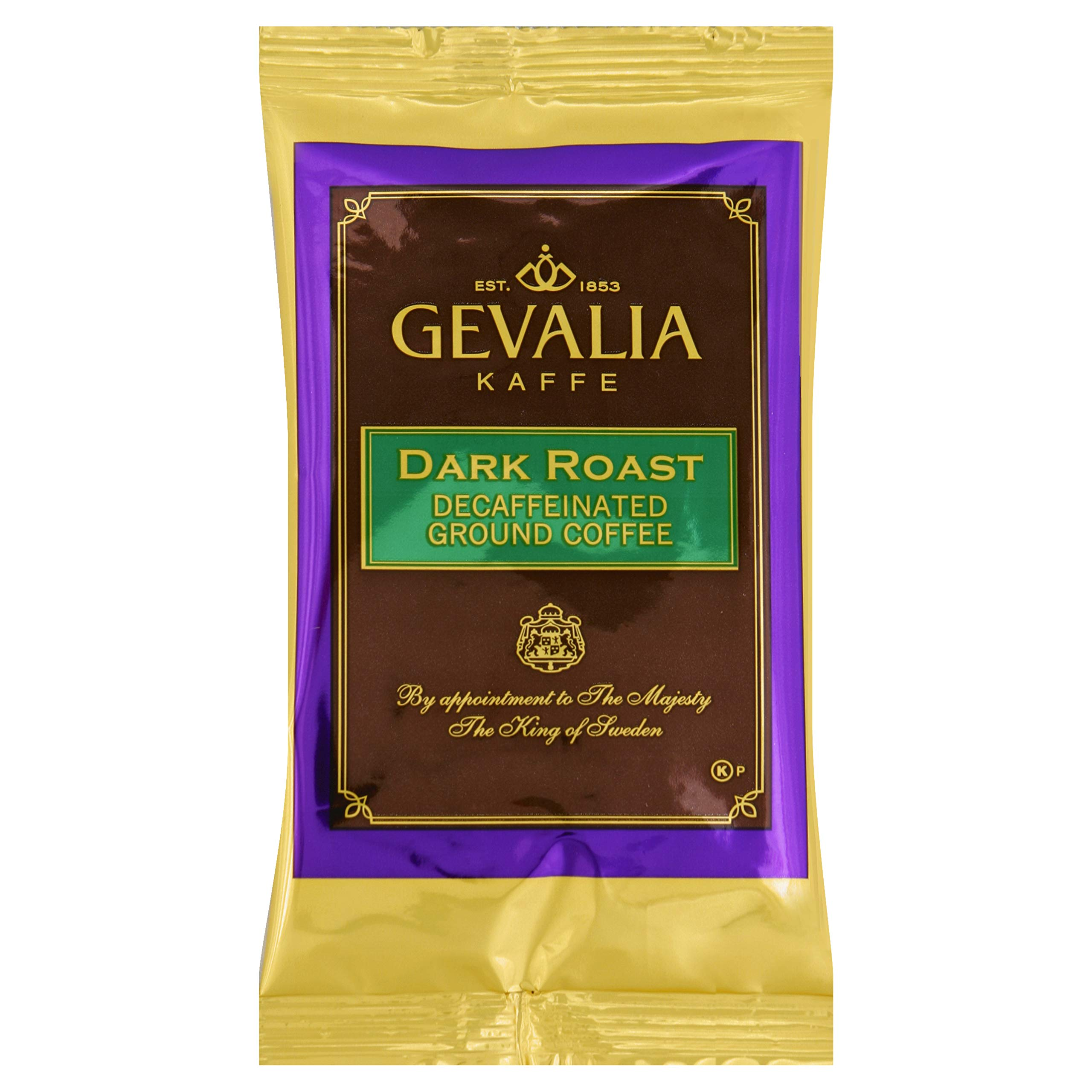 Gevalia Decaf Dark Roast Ground Coffee (2.5 oz Bag, Pack of 24) by Gevalia