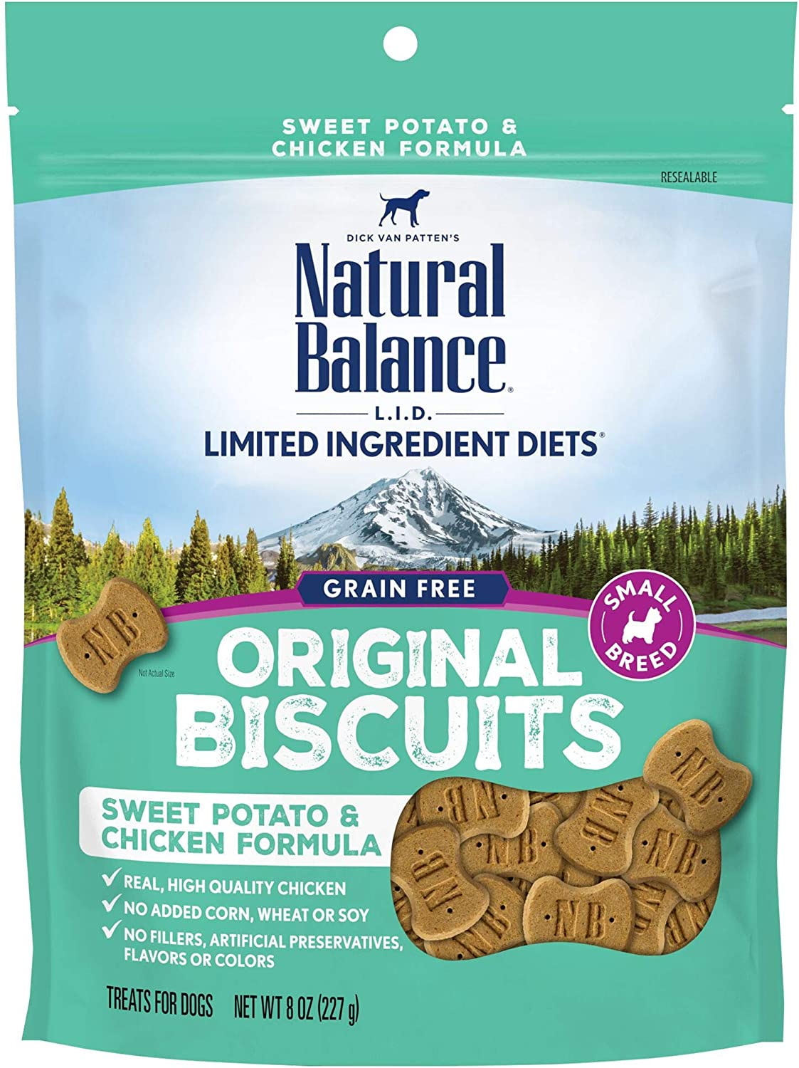 Natural Balance L.I.D. Limited Ingredient Diets Small Breed Dog Treats, Sweet Potato & Chicken Formula, 8 Ounce Pouch, Grain Free