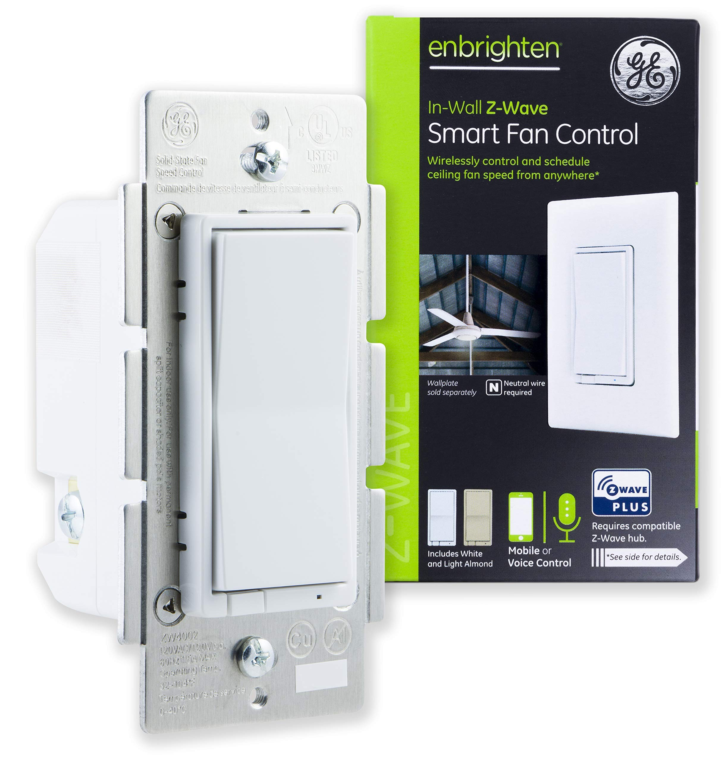 GE Enbrighten Z-Wave Plus Smart Fan Control, Speed ONLY, in-Wall, Includes White & Lt. Almond Paddles, Zwave Hub Required, Works with SmartThings Wink and Alexa, 14287, White | Light (Renewed)