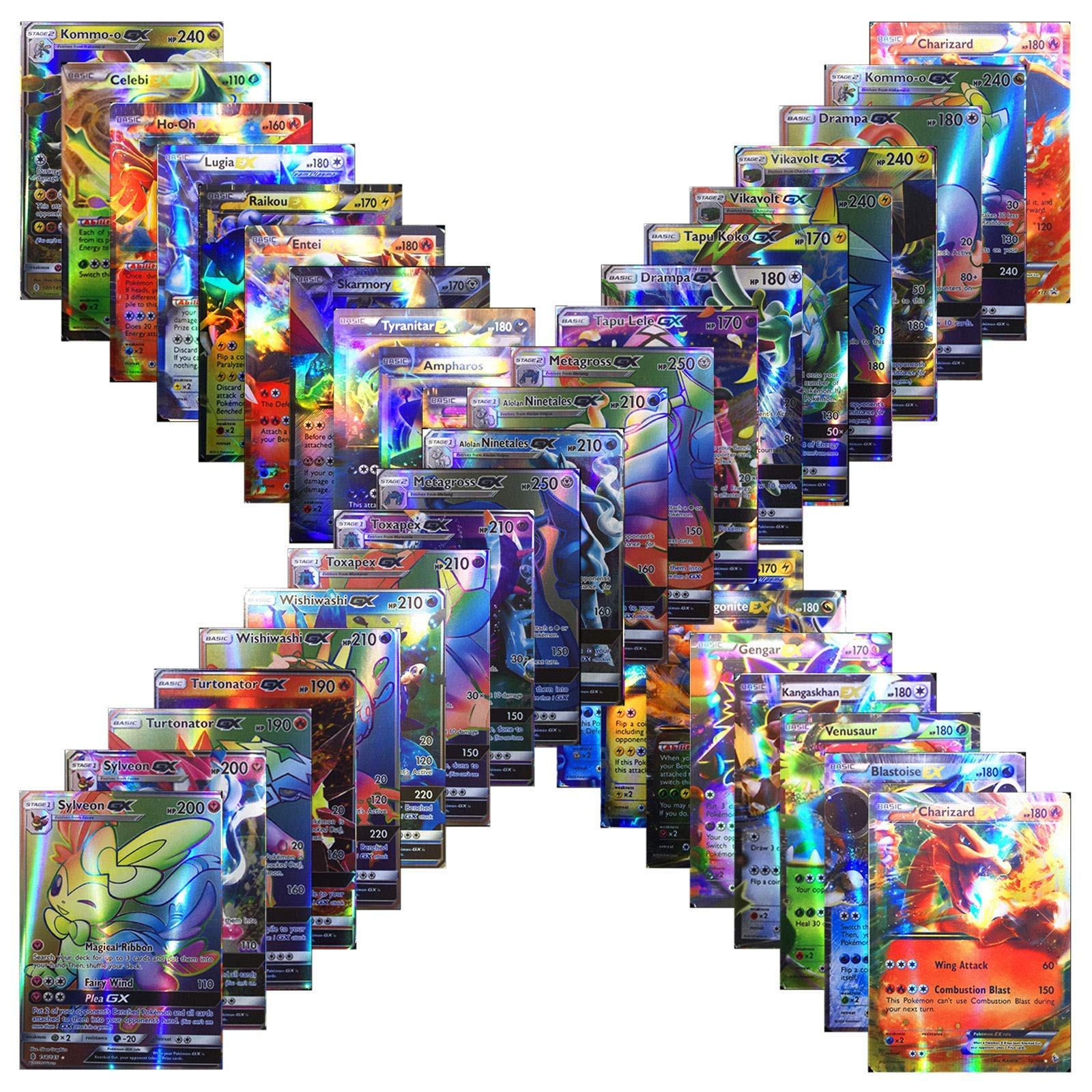 100 Cards TCG Style Card Holo EX Full Art! 60 EX Cards, 20 Mega EX Cards, 20 GX Cards 1 Energy Card