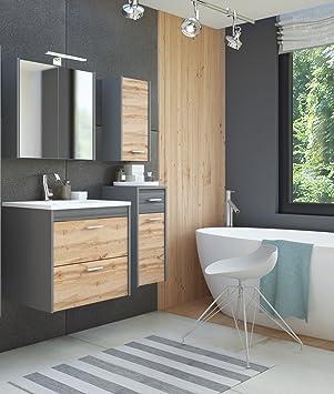 Gut gemocht Badmöbel Set IBIZA 60 mit Waschbecken Keramik GRAU MATT / EICHE VX13