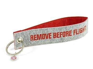 Llavero de fieltro - Remove Before Flight - Gris: Amazon.es ...
