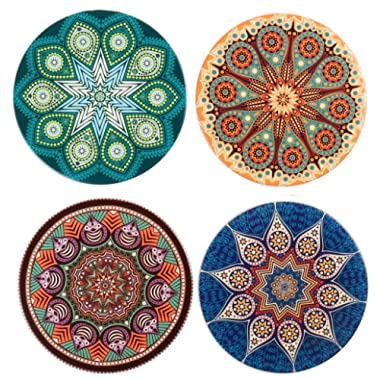 LogHog Absorbent Ceramic Stone Coasters for Drinks,Cute Coffee Mats with Cork Base,Prevent Furniture from Dirty and Scratched,Absorbing Hot/Cold Water Rings to Keep Your Bar/Table Clean,4  Diameter