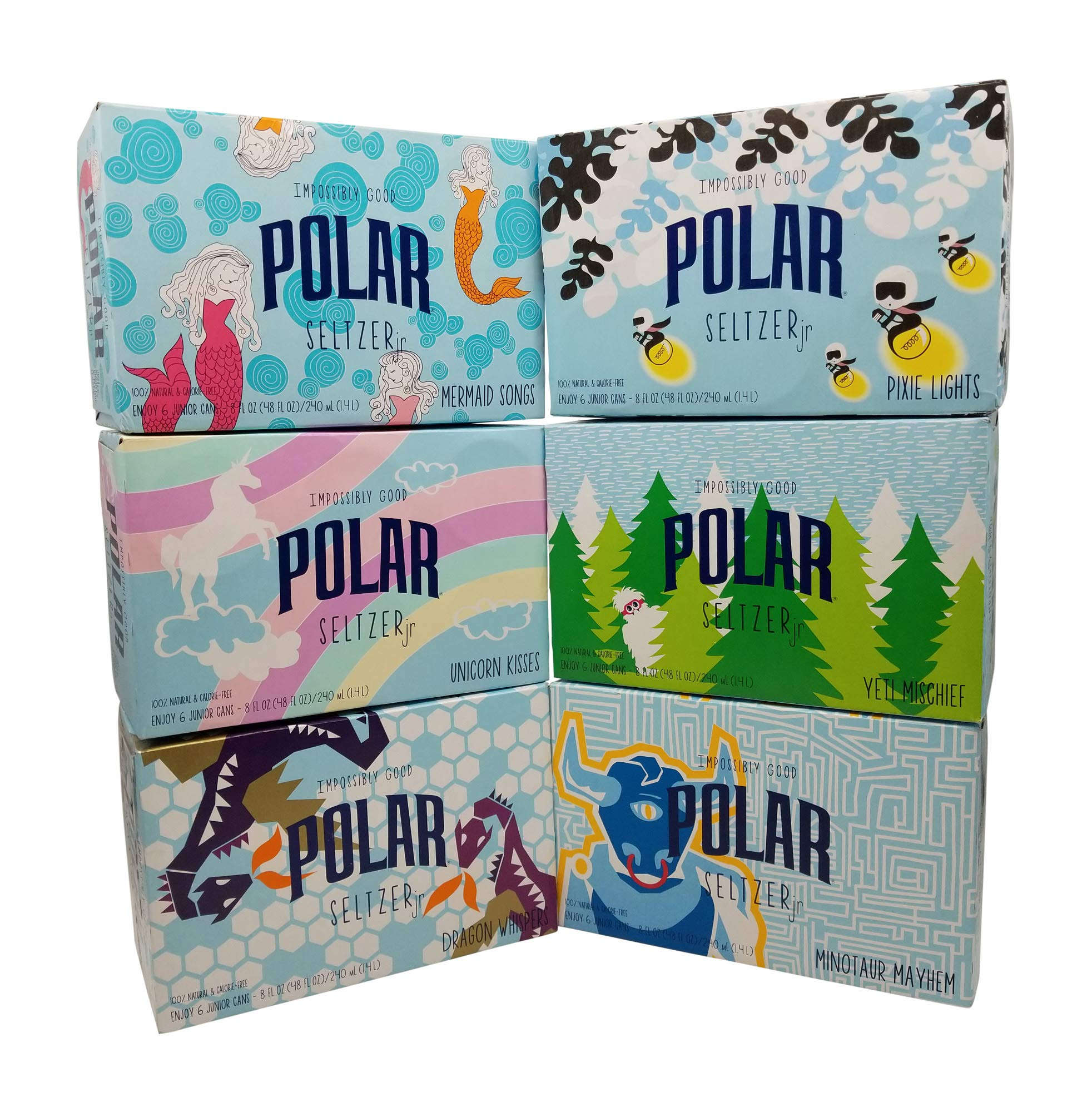 POLAR 100% Natural Seltzer Jr - 36 ct Variety Pack - The Impossibly Good Collection (Unicorn Kisses, Yeti Mischief, Mermaid Songs, Dragon Whispers, Minotaur Mayhem, Pixie Lights)