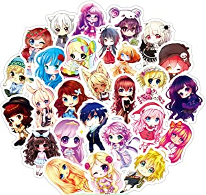 MINRAIN Girl Cute Cartoon Anime Doll Laptop Stickers 50Pcs Pack, Water Bottle Travel Case Computer Wall Skateboard Motorcycle Phone Bicycle Luggage Guitar Bike Stickers Decal Best Gift for Kids