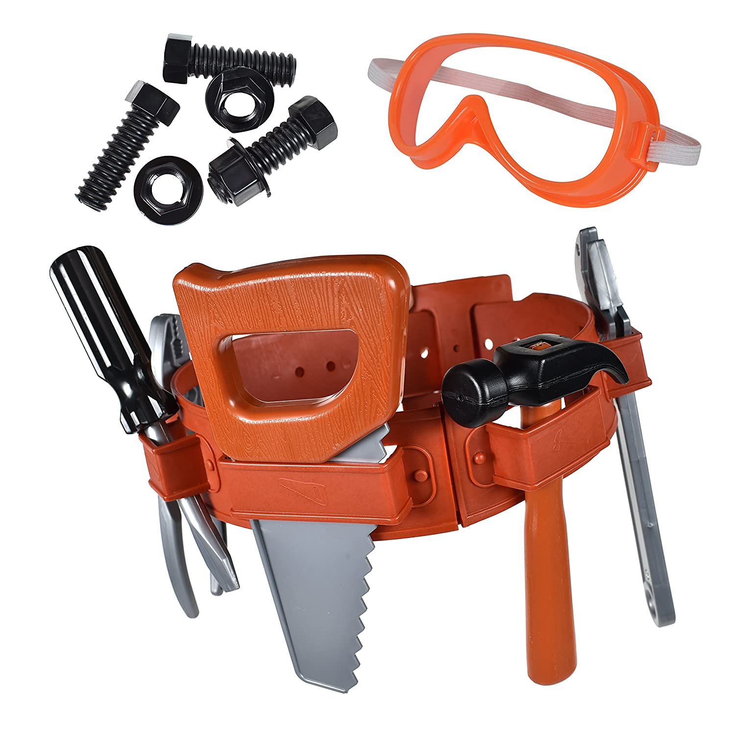 Maxx Action Power Tools 22-Piece Deluxe Tool Belt Set for Kids with Tape Measure, Goggles and Pretend Role Play Toys