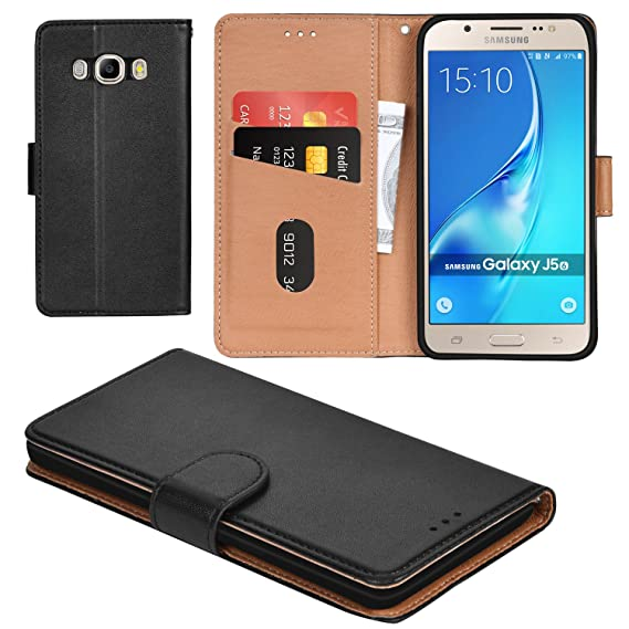 official photos f851a b11f2 Galaxy J5 2016 Case, Aicoco Flip Cover Leather, Phone Wallet Case for  Samsung Galaxy J5 2016 - Black