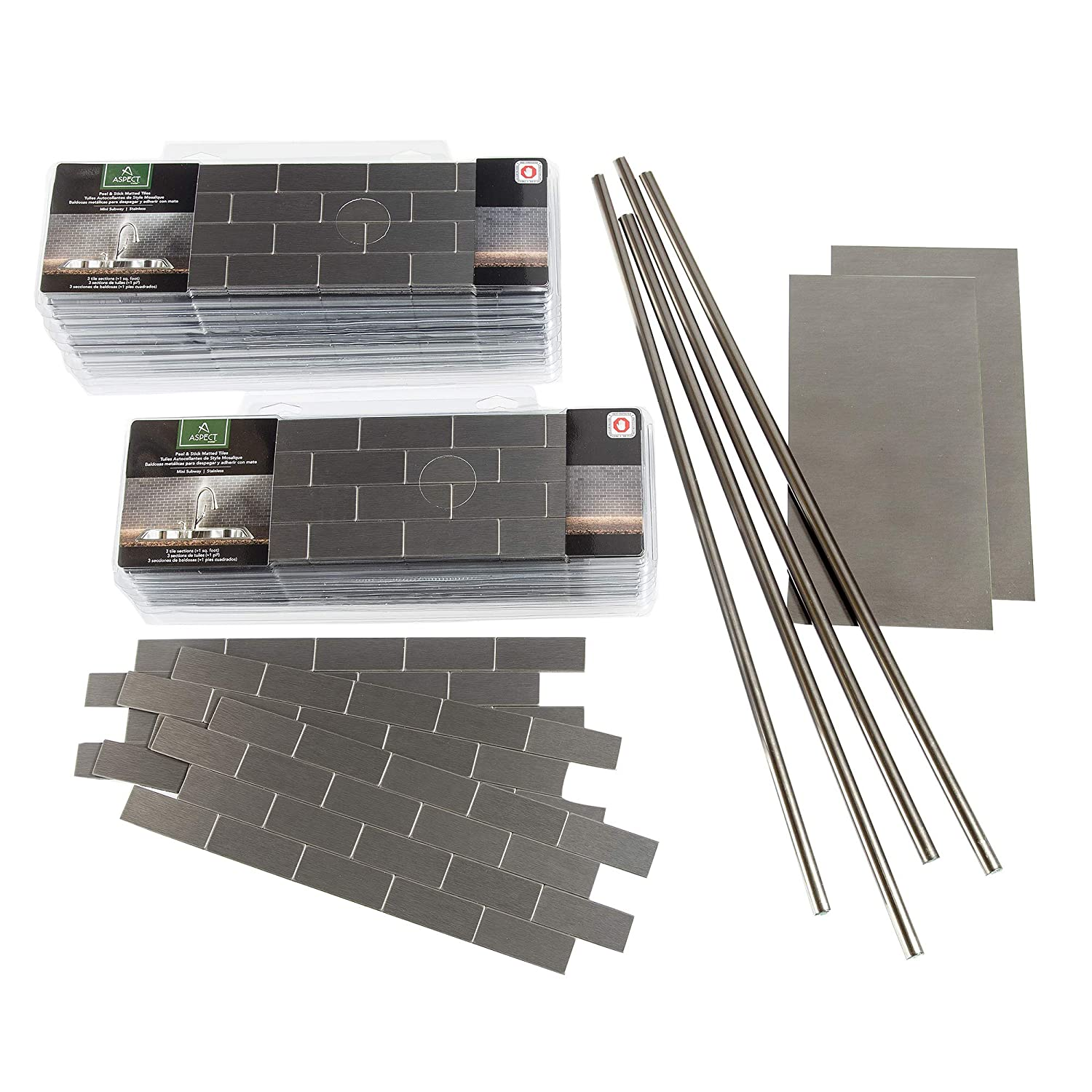 Aspect Peel and Stick Backsplash 12inx4in Subway Stainless Matted Metal Tile 15 Sq Ft Kit for Kitchen and Bathrooms