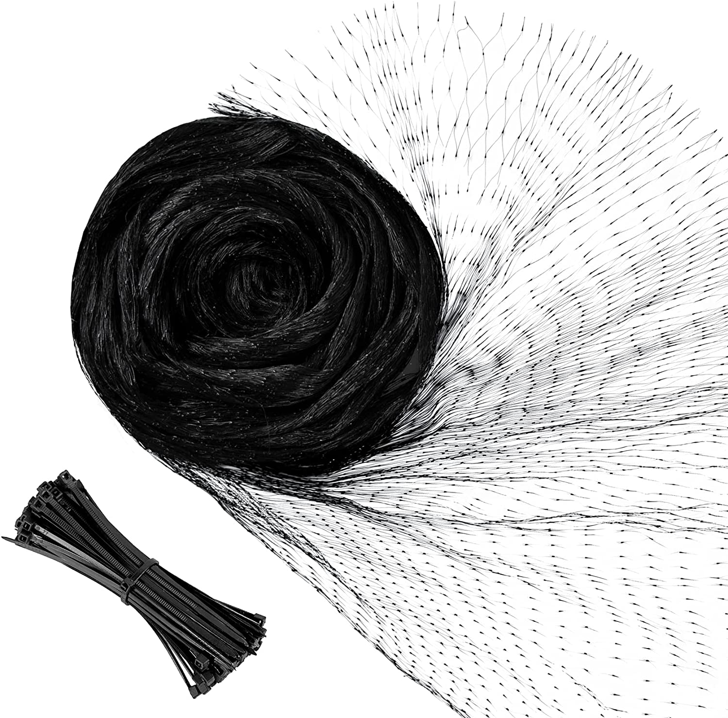 YHmall Bird Netting, Reusable Nylon Garden Netting with 50 Pcs Cable Ties, Fruit Tree Netting with 0.6 Inch Square Mesh Protect Plants and Fruit Trees from Birds and Wildlife (Black, 13 x 16 Ft)