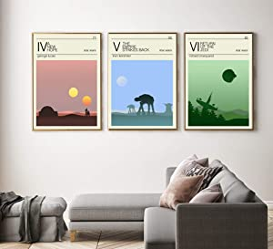 Minimalist Star wars Episode IV, V, VI Poster set, Star wars prints, star wars home decor, All Prints avialable in 9 SIZES and 3 type of MATERIALS