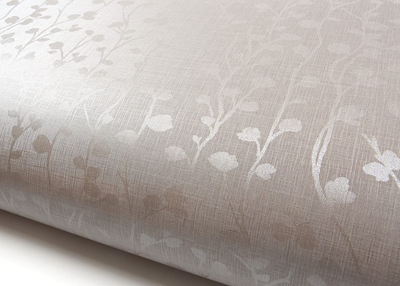ROSEROSA Peel and Stick PVC Floral Instant Self-Adhesive Covering Countertop Backsplash Herb Garden Silver Pearl (PG4181-2 : 2.00 Feet X 6.56 Feet)
