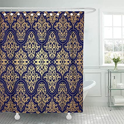 72quotx72quot Shower Curtain Waterproof Decorative Collection Navy Oriental Blue Gold Luxury Damask Vintage