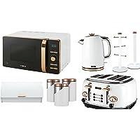 Tower Set of 9 Rose Gold & White Kitchen Set- Digital 20L Microwave, 1.7 Litre Jug Bottega Kettle & 4 Slice Toaster, Retro Bread bin, 3 Canisters, Towel Pole & 6 Mug Tree Set