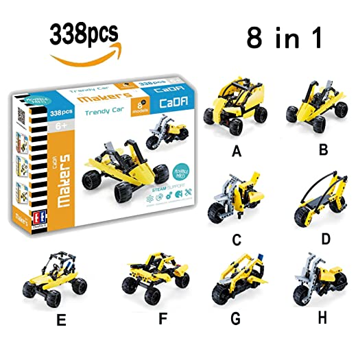 Car Building Blocks Set, Hosim 8-in-1 Assembly Building Blocks Brick Kit Toy Car, 338pcs Bricks Toys for Kids - Unique Shapes Creativity beyond Imagination Children's Educational & Learning Toy