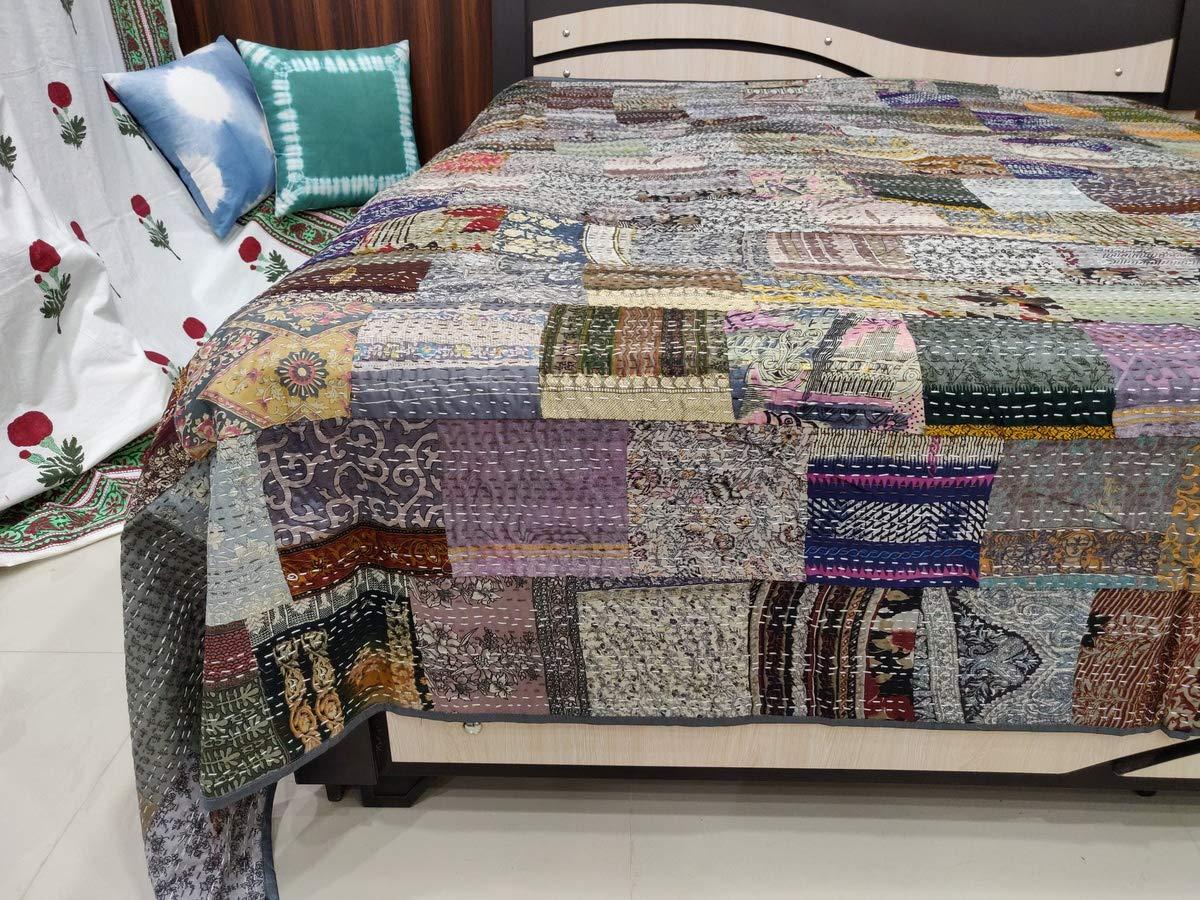 Recycled blanket Designer vintage kantha quilt Unique patchwork hand stitched bedcover Home decor gift