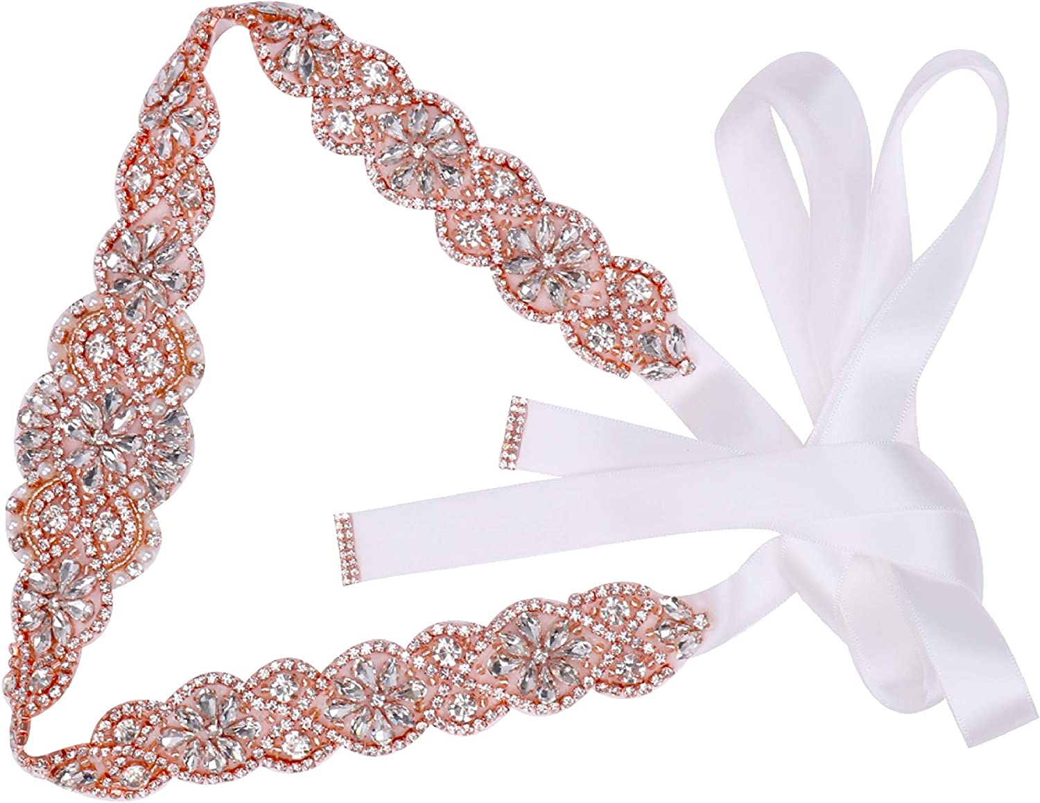 Tendaisy Women's Clear Crystal Rhinestone Sash Wedding Belt for Bridal Gowns(Rose-White) at  Women's Clothing store
